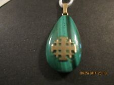 14K YELLOW GOLD CONNECTING LOOP AND JERUSALEM CROSS MALACHITE PENDANT I INCH