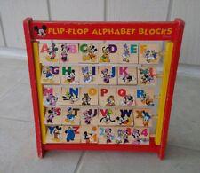 Vintage Disney Flip Flop Alphabet Blocks Mickey Minnie Mouse Goofy