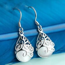 Elegant White Gold Plated WHITE Water-drop Cat's Eye Stone  Earrings Jewelry UK