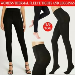 Womens Thermal Tights Winter Warm Black Fleece Lined Footless Full Foot 4.9 Tog