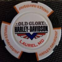 OLD GLORY HD ~ MARYLAND (White/Black/Org Full Color) Harley Davidson Poker Chip