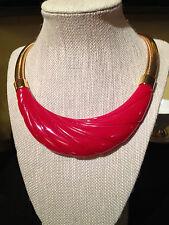 Marvelous Vintage Modernist Monet Red Lucite & Gold Tone Metal Choker Necklace