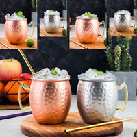 2/4Pcs 530ml Moscow Mule Mug Cup Barrel Beer Wine Cocktails Copper Drink Bottle