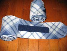 New set of 2 navy/white/grey plaid horse polo wraps (horse/pony leg wraps)