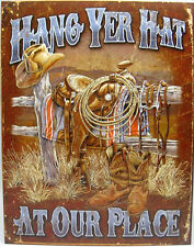 Western Cabin Lodge Barn Stable Decor ~HANG YER HAT~ Metal Sign