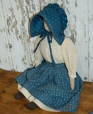 antique cloth rag doll, early blue calico skirt ,  antique textile, primitive