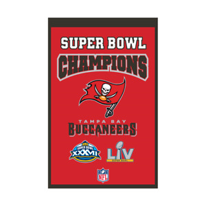 """TAMPA BAY BUCCANEERS 2 TIME SUPER BOWL CHAMPIONS EMBROIDERED WOOL BANNER 14""""X22"""""""