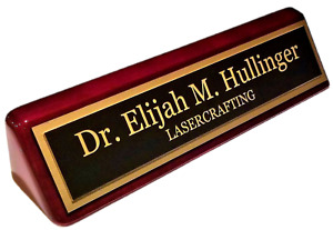 Executive Name Plate-Rosewd Piano Finish w/gold Laser-engraved plate CUSTOMIZED