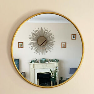 Industrial Gold Round Frame Home Bathroom Glass Wall Mounted Vanity Mirror 50cm