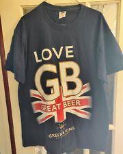 "Greene King T Shirt large 40/42"" Dark Blue "" love great beer "" GB union jack"