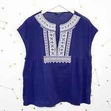 Madewell Bluse Gr��ße L Blau Weiß Bestickt Kurzärmelig Hauchdünnen Kasbah Top