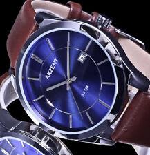 Akzent Herren Armband Uhr braun Blau Silber Farben Datum EX-L8