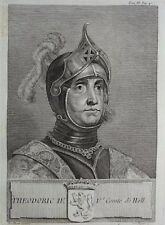 Gravure Antique print THEODORIC IV Comte de Hollande Flipart Count of Holland