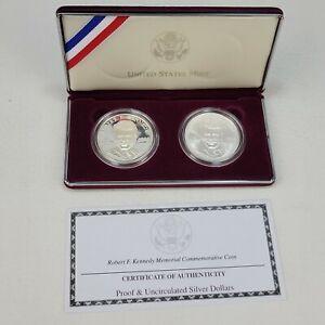 1998 Robert F. Kennedy Commemorative Silver Dollar 2 Coin Set Box & COA