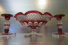"""Westmoreland Ruby Stained Waterford Lg. 10 1/4""""D  Bowl & Candle Holders"""