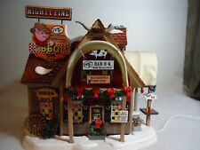 "Dept 56 Snow Village ""Mighty Fine BBQ"" plus "" Grill master and friend """