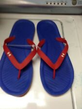 Under Armour Men's Flip Flops Sandals rubber Size 11 Red & blue Thongs nwot