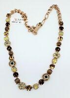 Mariana Serai Swarovski Crystal Rose Goldtone Necklace Topaz and Opal