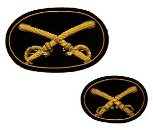Cavalry (Swords) Insignias Hat + Kepi, Wire Bullion embroidered, New