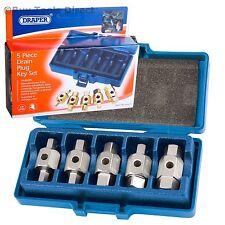 Draper Car Axle Gearbox Oil Sump Drain Key Plug Set Kit Vehicle Tools 5 Pc 56627