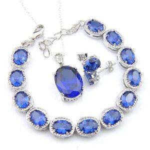 Oval Cut Gorgeous Shiny Blue Topaz Gems Silver Bracelets Pendants Earrings Sets