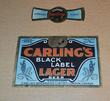 Vintage Carling Black Label Lager London, Canada Beer Label NICE!