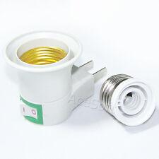 LED Light E27 Socket US Plug On OFF Switch+E27 to E12 Candelabra Socket Adapter