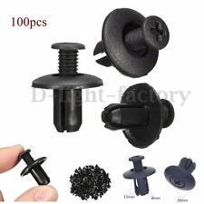 100x 8mm Car Hole Plastic Rivets Fastener Bumper Door Push Trim Clips Black