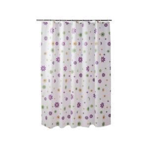 1X Shower Curtain 180CM PEVA Purple Flowers Bathroom Waterproof Moisture-proof