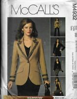 McCall's Sewing Pattern M4932 Misses' Lined JACKETS, TOP, SKIRT & PANTS 8-14