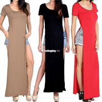 Sexy High Side Double Slit Splits Long Maxi Dress T Shirt Women Long Blouse Top