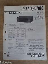 Schema SONY - Service Manual Digital Stereo Preamplifier TA-A77E TA-D709E