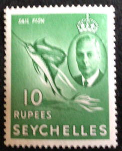 Seychelles George VI 1952 Definitive 10 Rupee Green SG172 Mint C/V £28.00 2018.