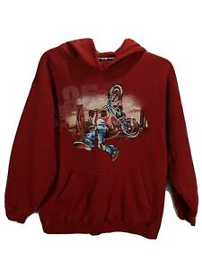 JNCO JEANS Boys Red Graphic Print Long Sleeve Pullover Hooded Sweatshirt sz XLG