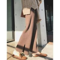 Womens Winter Chic Warm Comfy Long Loose Casual Knitted Pants Wide Leg Trouser