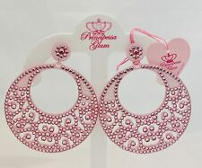 Glam Pink with Swarovski Crystals Maxi Drop Earrings Circle Principessa