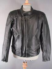 """BLACK 'SKIN' COWHIDE LEATHER BIKER JKT 40"""" + REMOVABLE BACK PROTECTOR/2ND LINING"""