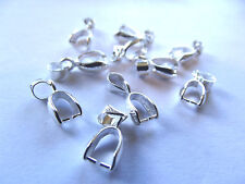 Silver Plated SMALL Pinch Bail. Approx. 10 Pieces.