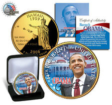 *Barack Obama *44th President *24 K GOLD PLATED-.COLORIZED HAWAII  State Quarter