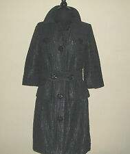New w/o Tags Vertigo Paris S Black Trench Coat Geometric Sheen Pattern Self Belt