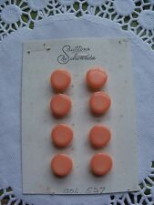 8 VINTAGE SALMON PINK PLASTIC SCHWANDA BUTTONS CARDS CRAFTS SEWING KNIT NOS 11mm