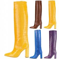 New Design Ladies Size 34-45 Crocodile Print Pull On Knee High Gothic Boots Club