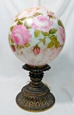 """OOAK Louise Piper Signed Hand Painted Lamp Huge 13"""" Globe Unique 1975 Fenton"""