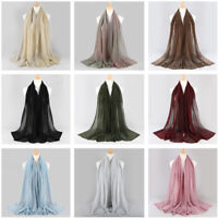 Fashion Elastic Spun Gold Polyester Wrinkle Hijab Muslim Scarf Wrap Shawl New
