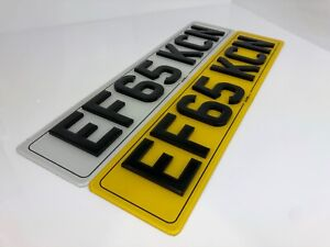 4D Gel 6MM Pair of Road Legal Black Gloss Laser Cut Number Plate Car Reg
