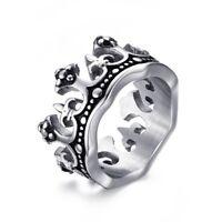Men Ring Band King Crown Wedding Ring Fleur De Lis Biker Stainless Steel Jewelry