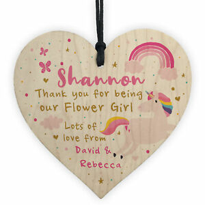 Personalised Flower Girl Bridesmaid UNICORN Thank You Plaque Gifts for Girls