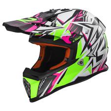 Ls2 Casco Moto Cross Mx437 Fast Strong Bianco-verde-rosa L