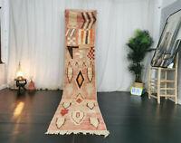 Moroccan Vintage Handmade Runner Rug 2'3x10'9 Abstract Faded Red Berber Wool Rug