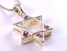 Star Of David Magen Judaica Necklace Pendant Kabbalah Gold Crystal Stones Jewish